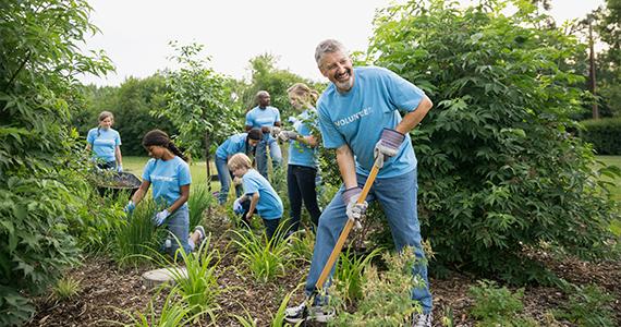 Un pequeño grupo de personas trabajan juntos para mantener un pequeño jardín. Todos ellos llevan camisas que dicen ser voluntarios