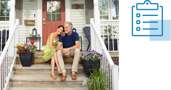 An older couple enjoy each other's company as they sit on the stoop of their quaint house; nearby is line art of a checklist